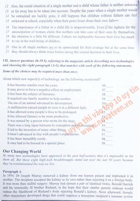 Đề thi vào lớp 10 môn tiếng Anh Trường chuyên ĐHSP Hà Nội năm 2018 p4