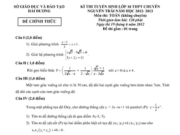 Đề thi tuyển sinh vào lớp 10 THPT chuyên Nguyễn Trãi năm 2012 - 2013 với dạng bài tập giải phương trình và hệ phương trình