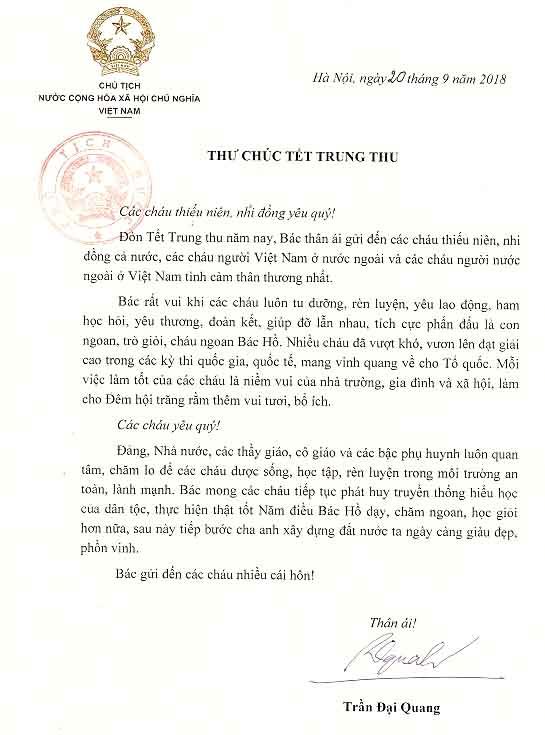 Chủ tịch nước Trần Đại Quang gởi thư chúc tết Trung thu 2018