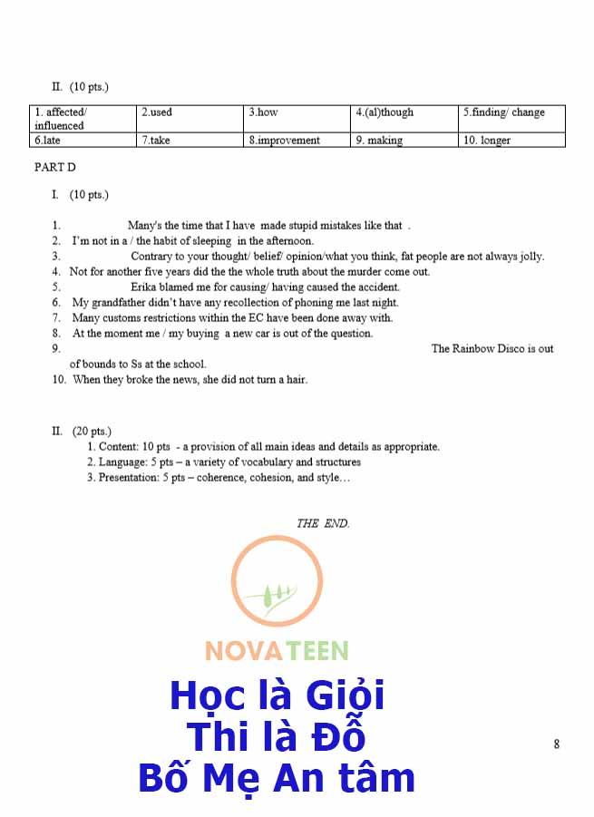 Đáp án Đề thi thử vào lớp 10 môn Tiếng Anh Trường THPT chuyên Hà Nội Amsterdam năm 2016-2017
