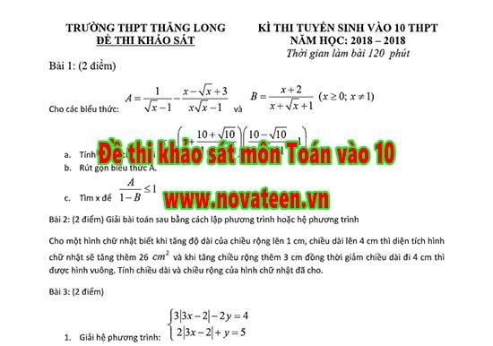 Đề thi khảo sát môn Toán vào 10 - Trường THPT Thăng Long