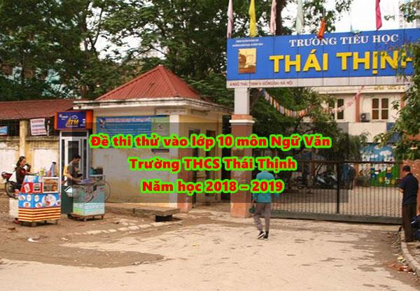 đề thi thử 9 lên 10 tại trường THCS Thái Thịnh
