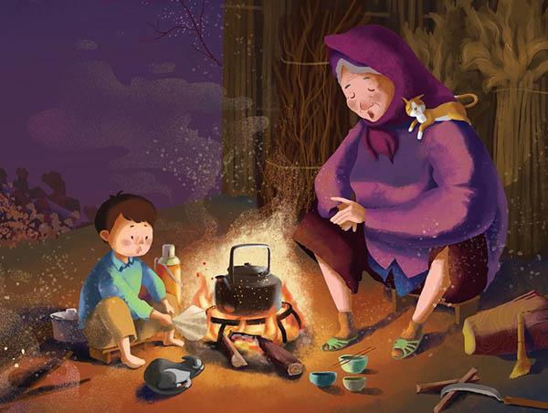 Hình ảnh minh họa Bà và cháu bên Bếp lửa hồng
