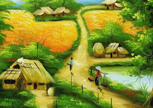 Tranh vẽ một ngôi làng ở miền quê