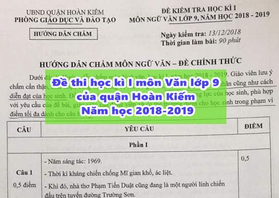 Đề thi học kì I môn Văn lớp 9 của quận Hoàn Kiếm – Năm học 2018-2019