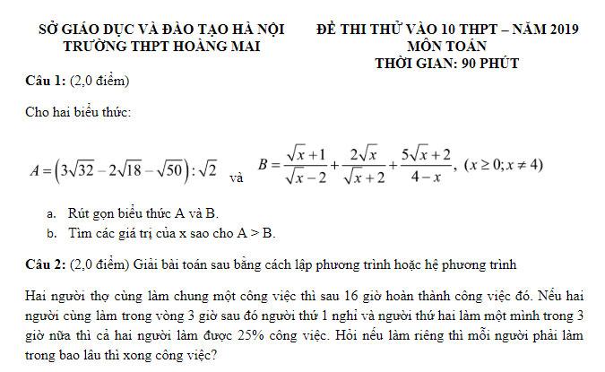 Đề thi thử môn Toán vào 10 Trường THPT Hoàng Mai và hướng dẫn giải chi tiết
