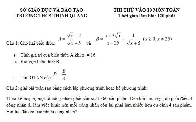 Đề thi thử vào 10 Trường THCS Thịnh Quang - Hà Nội