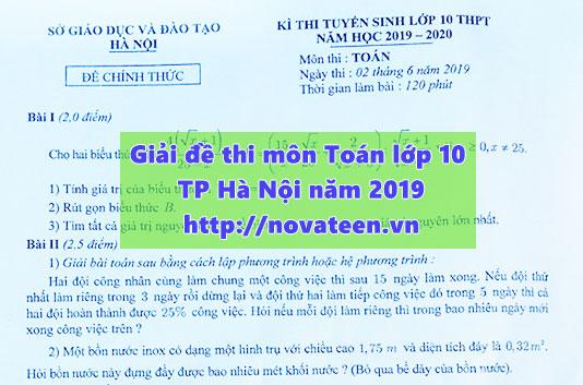 Giải đề thi môn Toán vào lớp 10 của TP Hà Nội năm 2019