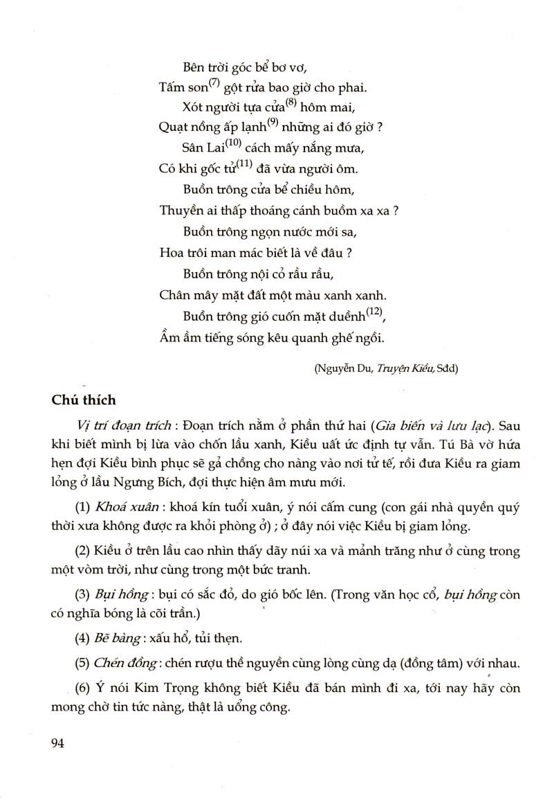 """8 câu thơ cuối bài thơ """"Kiều ở lầu Ngưng Bích"""""""